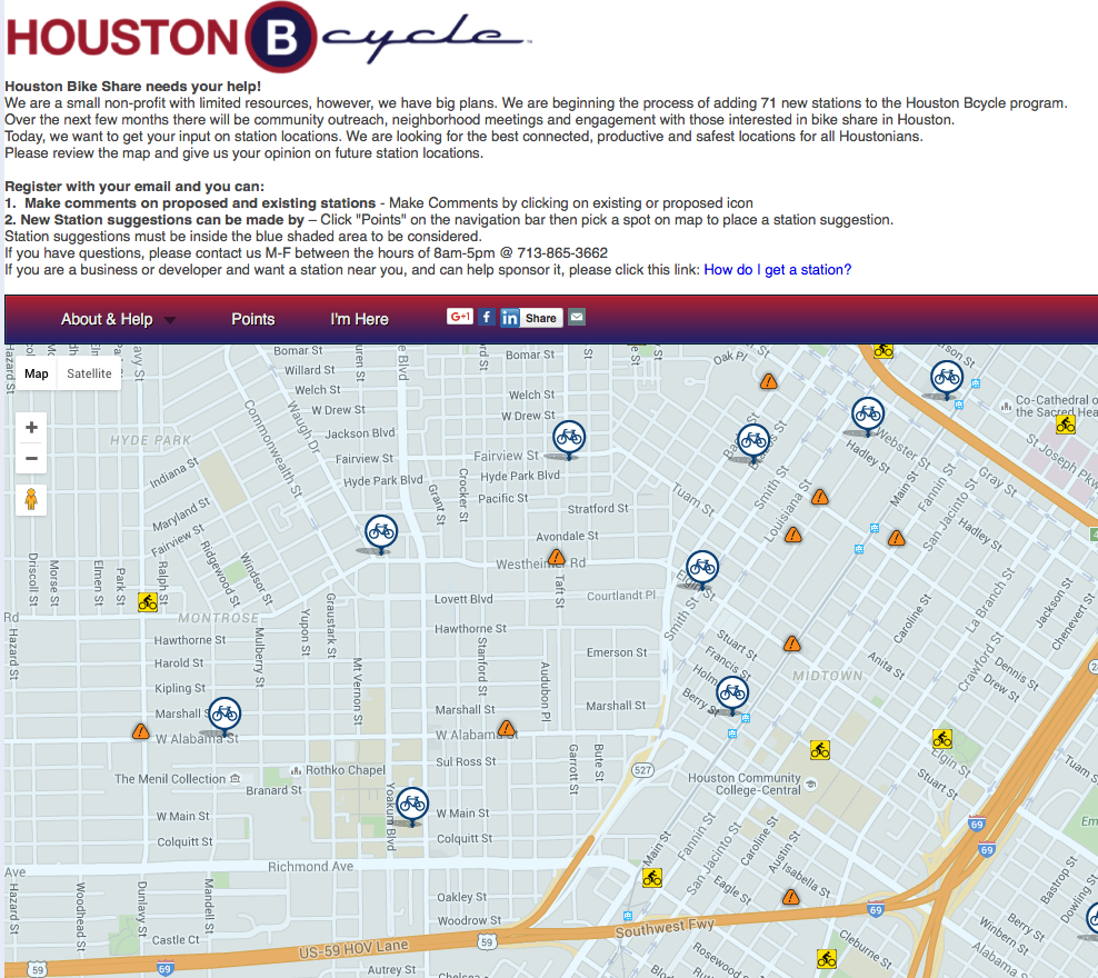 Houston Bike Share Program Expansion Map