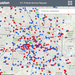 map of pothole service requests in houston